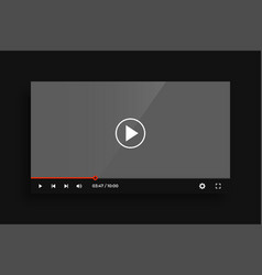 flat style video media player interface template vector image