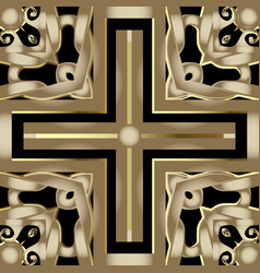 Geometric modern 3d seamless pattern gold and vector