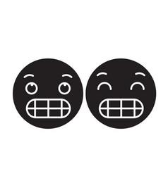 grimacing emoji black concept icon vector image