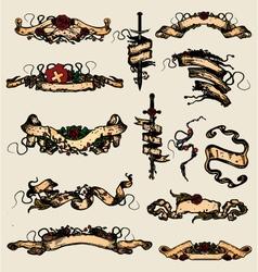 Grunge comic banner scrolls vector