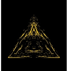Grunge golden triangle vector image