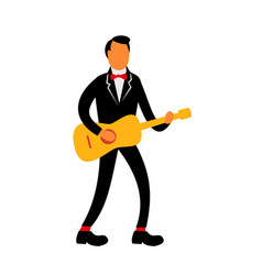 Guitarist in tuxedo playing guitar retro vector