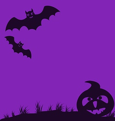 Halloween background with pumpkin and bats vector