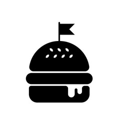 Hamburger silhouette with flag vector