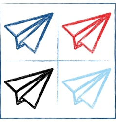 Hand drawn paper planes vector image