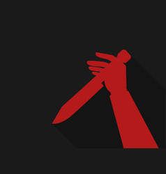Hand holding a knife red outline in retro style vector