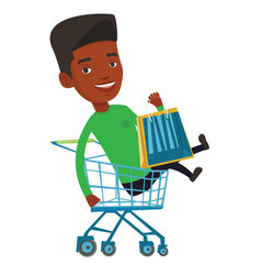 Happy man riding by shopping trolley vector