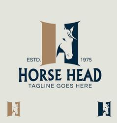 Horse head letter h symbol vector