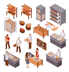 Isometric bakery set vector