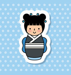 japanese girl icon vector image