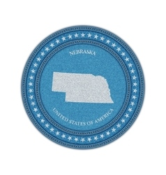 Label with map of nebraska Denim style vector