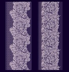 lace paisley vertical seamless border - set vector image