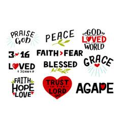 Logo set with bible verse faith hope love trust vector
