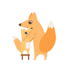 loving mother fox hugging her child who is vector image
