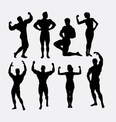 male and female body builder sport silhouette vector image