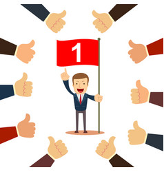 many hands congratulate a winner with thumbs up vector image