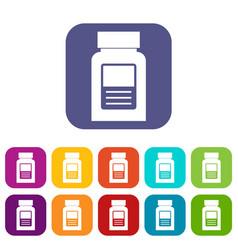 Medicine bottle icons set flat vector