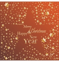 Merry Christmas and Happy New Year gold glittering vector image