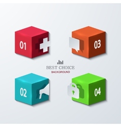 Modern cube infographics element design vector