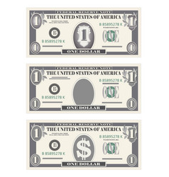 Money set paper banknotes one dollar in gray vector