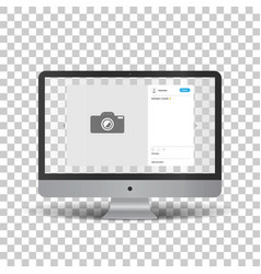 monitor with social network photo frame vector image