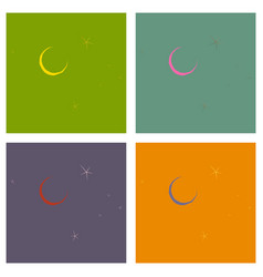 Month and stars on background from cartoon vector