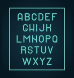 neon alphabet lighting letters glow font vector image