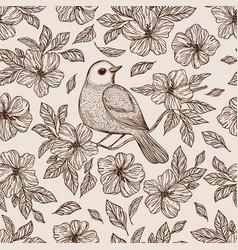 nightingale on flower seamless pattern vector image