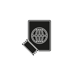 passport and ticket icon - flight pass vector image