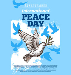 peace international day white dove vector image