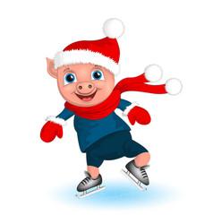 Pig boy in santa costume cartoon funny christmas vector
