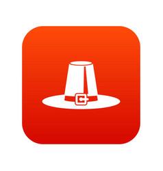 pilgrim hat icon digital red vector image