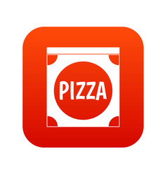 pizza box cover icon digital red vector image
