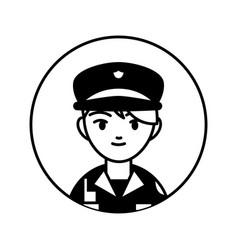 policeman professional person block line vector image