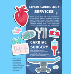 Poster of heart cardiology medicine items vector