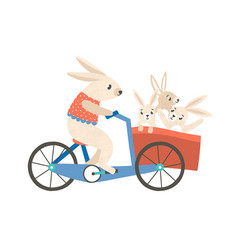 rabbit mom with kids riding bicycle flat vector image