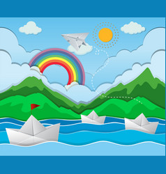 River scene with paper boat floating vector