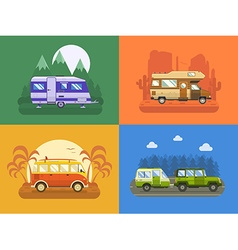 Rv travel concept landscapes in flat design vector