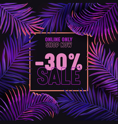 sale banner summer time ad background with purple vector image