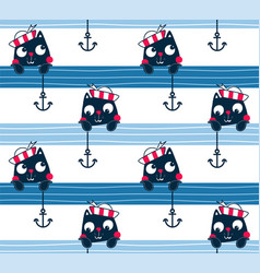 Seamless pattern with cute cat sailor vector
