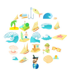 Seasearch icons set cartoon style vector