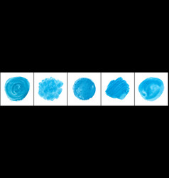 set blue watercolor stain vector image