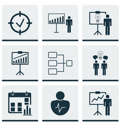Set of 9 board icons includes co-working vector