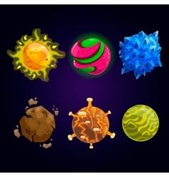 Set of fantasy cartoon planet vector image