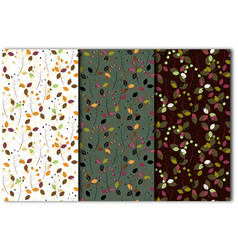 set seamless patterns with leaves and berries vector image