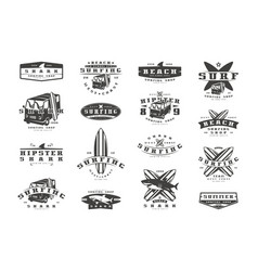 Set surfing emblems graphic design for t-shirt vector