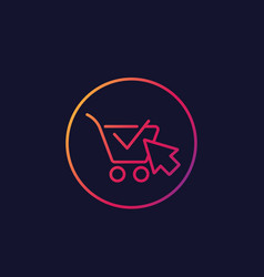 shopping cart completed order e-commerce icon vector image