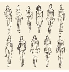 Sketch of fashion girls drawn vector image