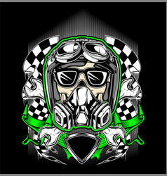 skull helmet racing with gas mask vector image