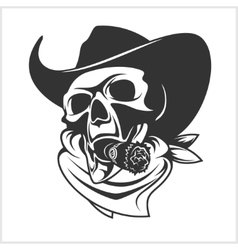 Skull In Cowboy Hat And Cigar vector